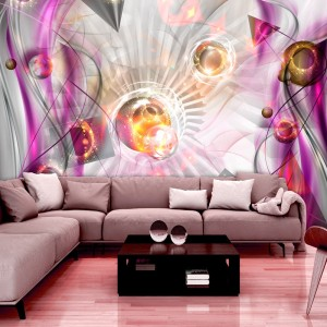 Unikátní růžová 3D tapeta s designovým motivem