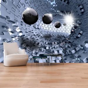 Moderní 3D tapeta s abstraktním motivem puzzle