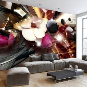 Moderní 3D tapeta v abstraktem provedení s květem