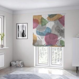 Abstraktní barevná látková okenní roleta šitá na míru