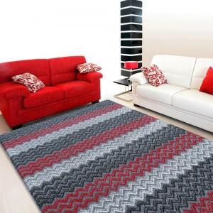 Koberec do obývacího pokoje v červeno šedé barvě