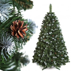 Vánoční stromek s bílými větvičkami a šiškami