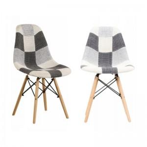 Moderní jídelní židle s čalouněním patchwork