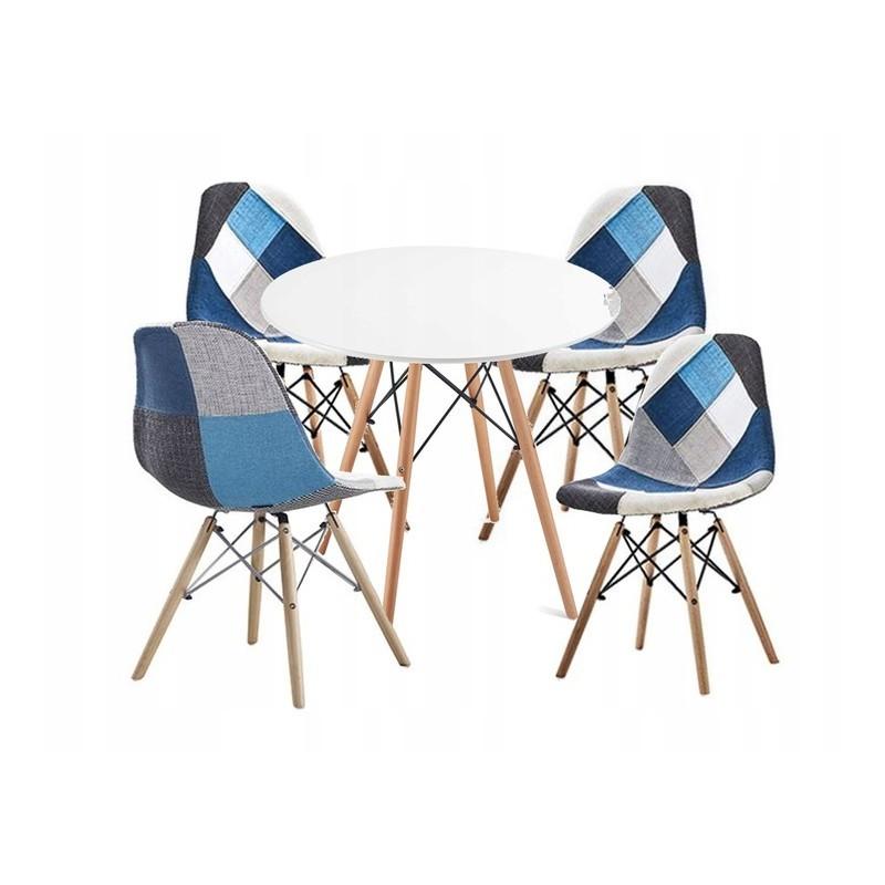 Pohodlná interiérová židle ve stylu patchwork do obývacího pokoje