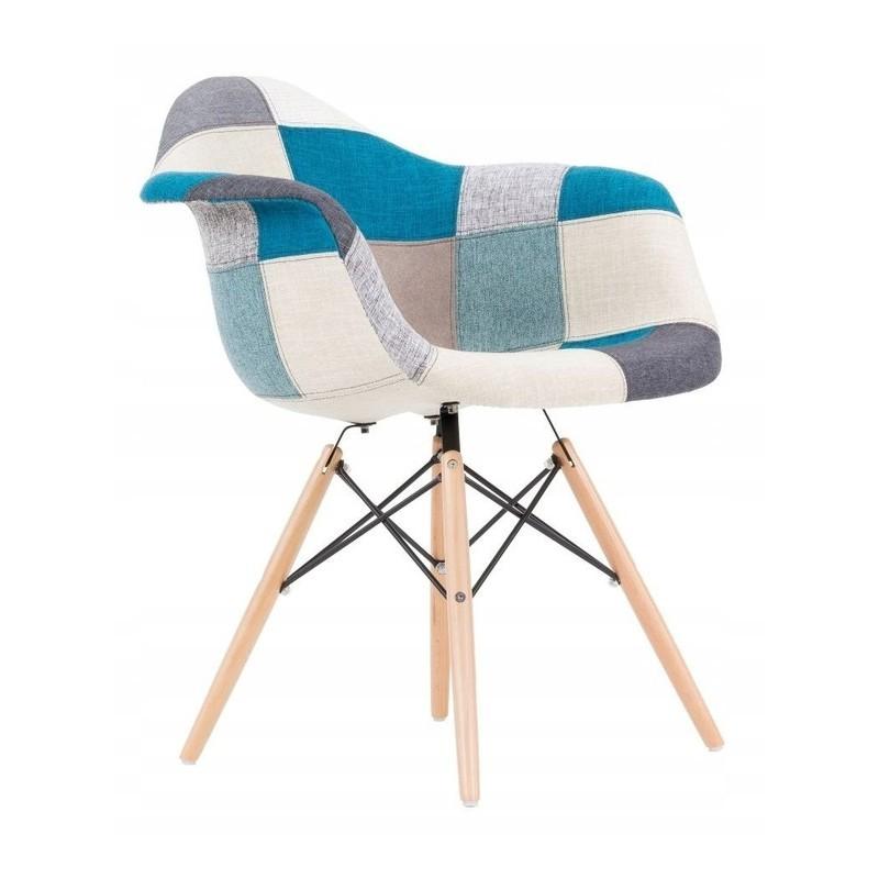 Kvalitní židle ve stylu patchwork modré barvy