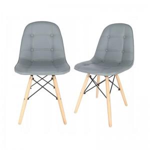 Šedá interiérová židle s čalouněním z eko kůže