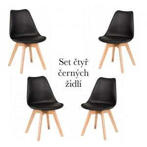 Set čtyř černých židlí za zvýhodněnou cenu