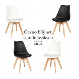 Moderní židle v setu bílé a černé barvy