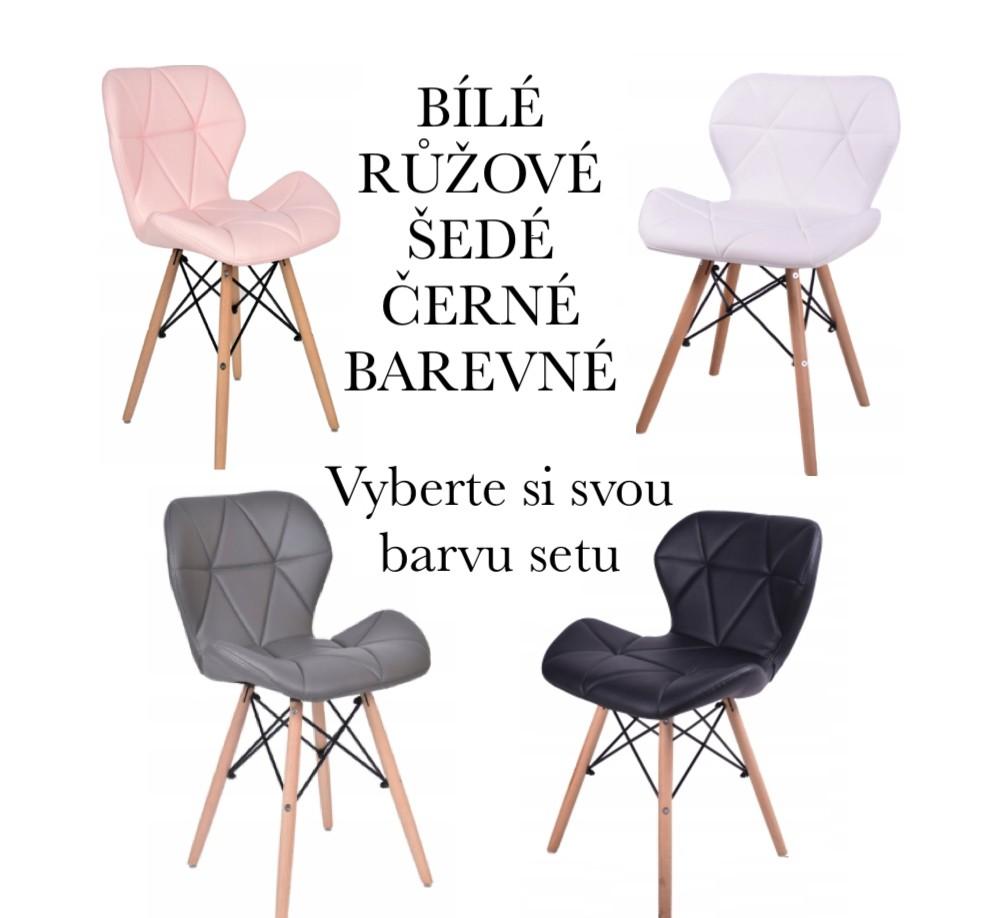 Set čtyř skandinávských židlí v různých barvách