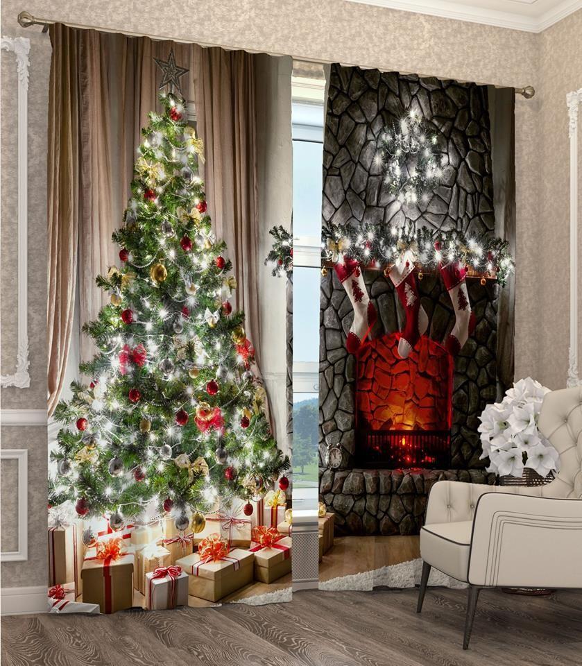 Závěsy s 3D motivem vánočního stromku a krbu