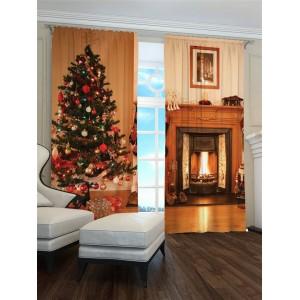 Vánoční 3D závěs s krbem a vánočním stromečkem
