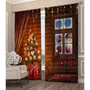Vánoční závěs se stromečkem a Mikulášem
