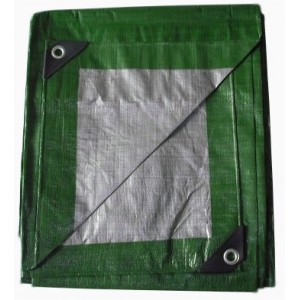 Zeleno stříbrná krycí plachta mrazuvzdorná