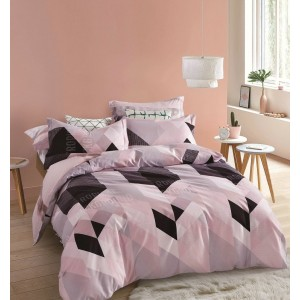Vzorované oboustranné ložní povlečení růžové barvy