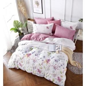 Luxusní povlečení růžové barvy s květinovým motivem