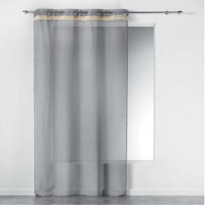 Jednobarevná šedá záclona do obýváku FRANGY
