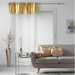 Moderní bílá záclona se zlatou vrchní částí METALLIC