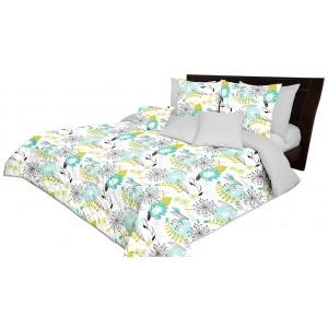 Stylový oboustranný šedý přehoz na postel s potiskem pampelišek