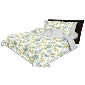 Oboustranný prošívaný šedě zelený přehoz na postel s motivem květů
