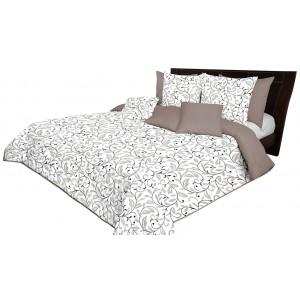 Krásný béžovo bílý oboustranný přehoz na postel s ornamenty listů