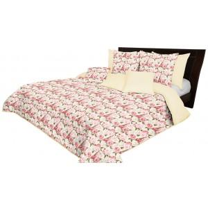 Oboustranný přehoz na postel krémové barvy s krásným motivem růží