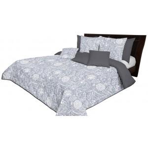 Stylový šedý oboustranný přehoz na postel s potiskem bílých květů