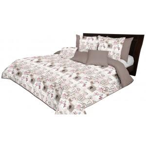 Krásný béžovo hnědý oboustranný přehoz na postel s vintage motivem