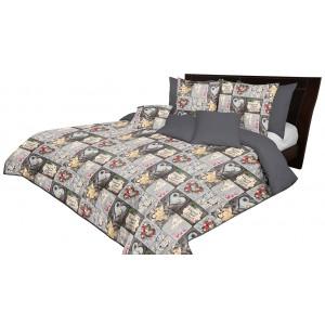 Oboustranný šedý přehoz na postel s motivem HOME SWEET HOME