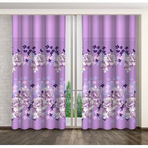 Dekorační závěs fialové barvy s motivem květů