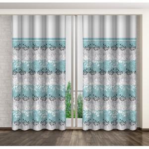 Hotový závěs do ložnice s motivem květů šedé barvy