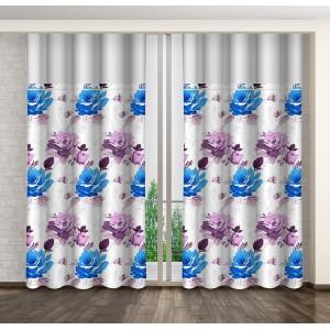 Luxusní dekorační závěs s motivem barevných květin