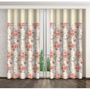 Dekorační květinové závěsy do ložnice s řasící páskou