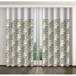 Šedé dekorační závěsy s květinovým vzorem