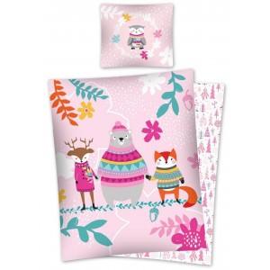 Oboustranný růžový ložní povlak z bavlny s vánočním motivem