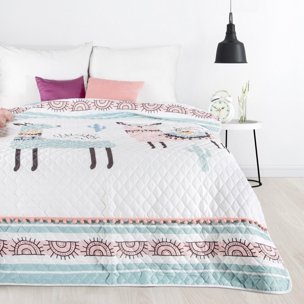 Dětský prošívaný přehoz na postel bílé barvy