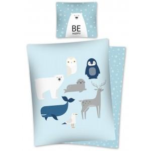 Dětské modré bavlněné ložní povlečení se zvířátky a motivem zimy