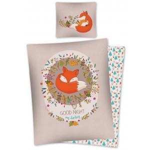 Béžové bavlněné ložní povlečení s dětským motivem lišky