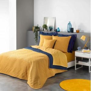 Moderní žluto modrý přehoz do ložnice