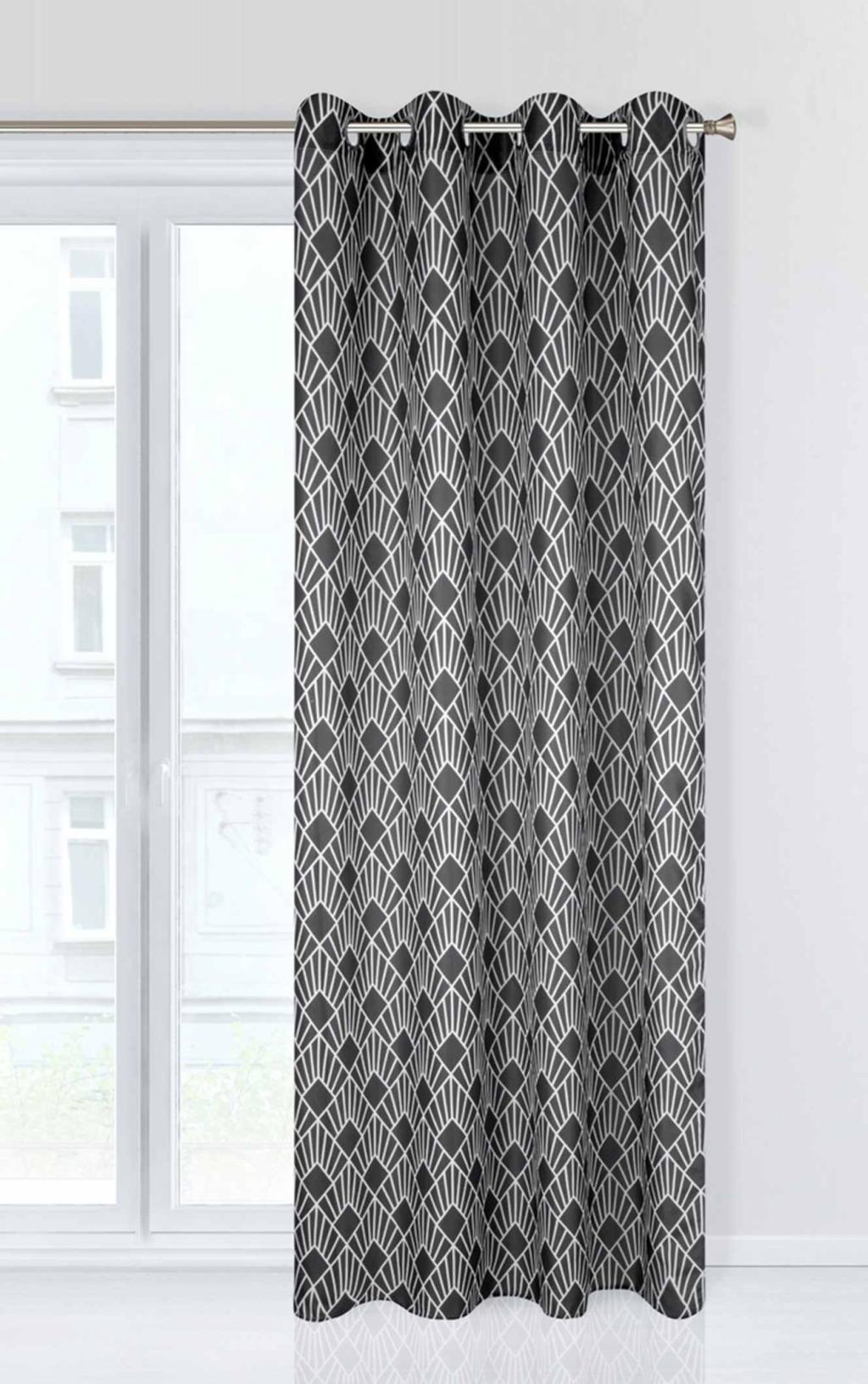Luxusní tmavě šedý dekorační závěs do obýváku