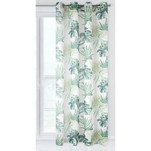 Zelený dekorační závěs s motivem palmových listů
