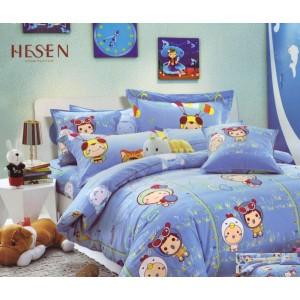 Modrá dětská ložní povlak s dětskou potiskem