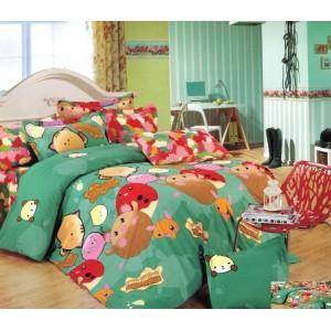 Zelené povlečení na dětskou postel se zvířátky