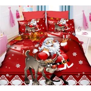 Červené Vánoční ložní povlečení s Mikulášem