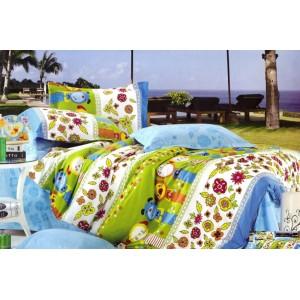 Zeleno - bílé povlečení na dětskou postel se zvířátky