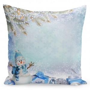 Vánoční povlak na polštář modré barvy