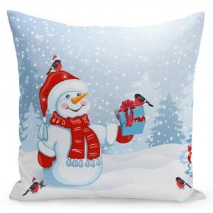 Dekorační povlak s vánočním motivem sněhuláka