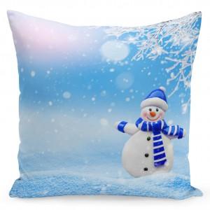 Dekorační povlak na polštář s motivem sněhuláka