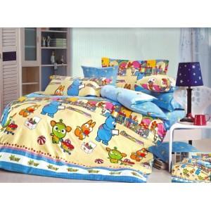 Modro žluté povlaky na dětskou postel s motivem zvířátek