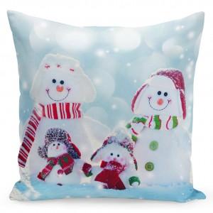 Barevný vánoční povlak na polštář se sněhuláky