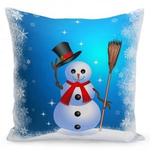 Modrý povlak na polštář s motivem Vánoc